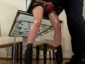 This fetish video is all about long legged lady in