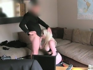 Busty model grinding on dick