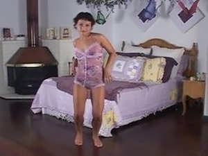 Pixie aka Andrea, Nadia strips and masturbates to music