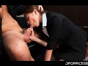 Sweet Asian office doll mouth fucking bosses cock on knees