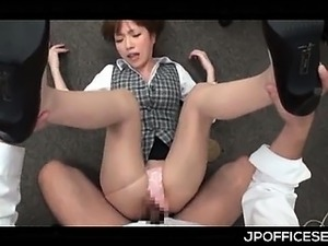 Cute Asian office doll showing her slutty side in 3some at work