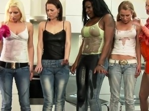 Classy clothed lesbian dominas