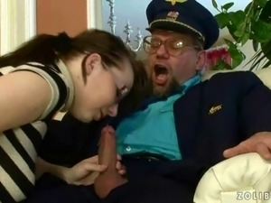 Grandpa fucking and pissing on a young bitch