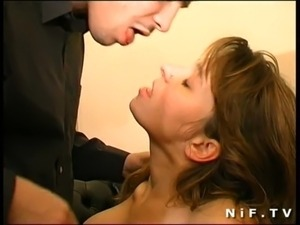 Unshaved french milf gets anal fucked and swallows cum free