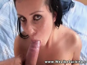 Mouthful dicksucking given by a giving raven babe in POV