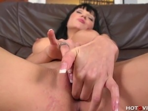 This European slut has big boobs and she loves to please her pussy with the...