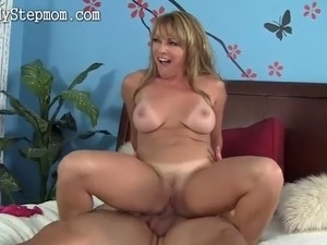 wild blonde mom fucks boy until he almost breaks What a wild milf she is