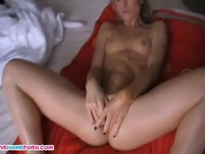 Here Is Amazing Video Of Cute blonde fingers her twat and has orgasms