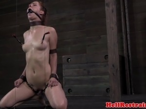 Drooling ball gagged sub clit pleasured with vibrator