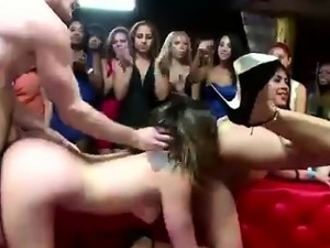 CFNM amateur babes watching FFM threesome with stripper