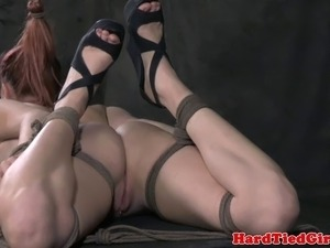 Hogtied and hair bounded sub fingered by male dominator