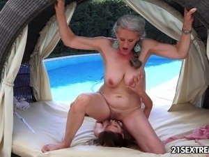 Granny Aliz and her young girlfriend, Candy enjoy the last of the summer...