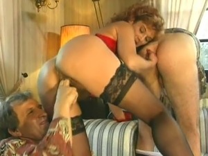 Bizarre 3 way fucking and fisting action. Nasty milf fisting a mans ass while...