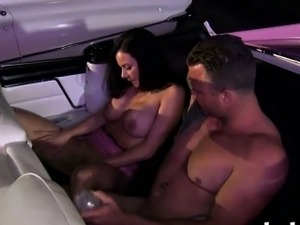 Two nasty bitches with big boobs foursome in the car