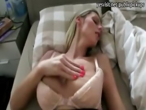 Real amateur blondie Eurobabe Katka paid for fucking with stranger