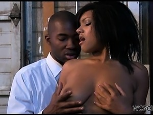 The sexy black office chick gets ready for sex