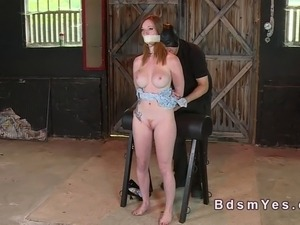 Busty and hairy redhead in bdsm fingered