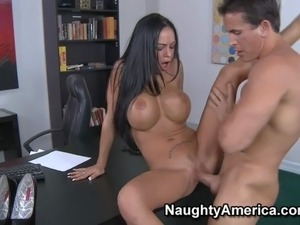 New brunette secretary Angelina Valentine enjoys in getting this job