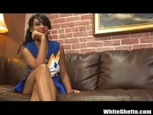 Ebony Cheerleader Loves Big Black Cock After the Game free