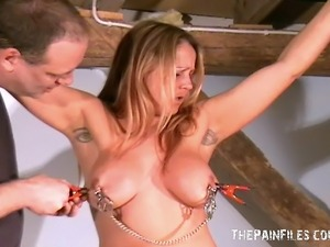 Merciless Tit Tortures of Busty Milf Ginas Bondage in the dungeon. Amateur...