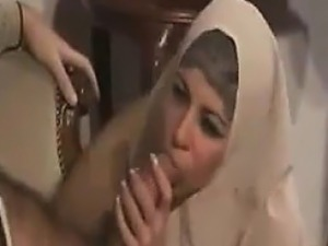 Cute Arab Chick Sucking On A Hard Cock