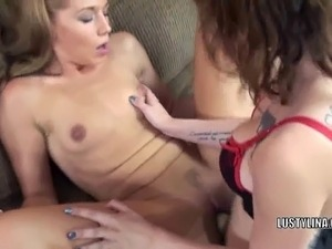 Lesbian hottie Indigo Augustine is using her strapon to fuck cute college...