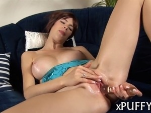 Stunning sweetheart is pounding her twat with sex toys