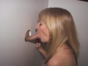 Dirty Blonde MILF Taking Creampie At A Glory Hole