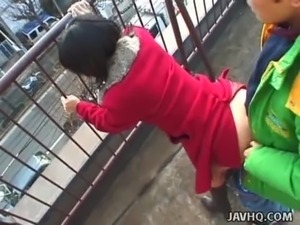 Lovely Japanese babe sucks a hard dick outdoors free