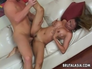 Busty Asian slut groans while her booty is pounded hard free