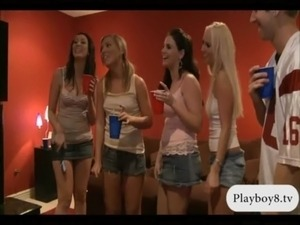 Four sexy hotties have fun in a party and hardcore orgy free
