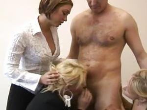 CFNM femdoms shove cock in their mouths