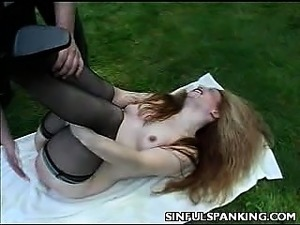Sexy Babe Outdoor Spanked