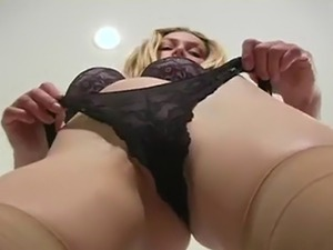 Horny blonde showing her panties