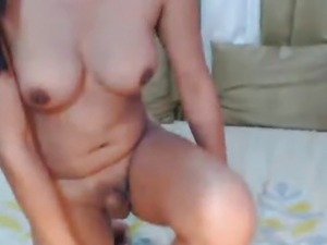 Asian Tranny Playing her Big Dick