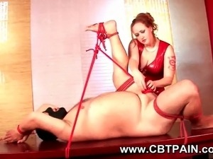 cbt bondage for slave guy with chubby mistress in red latex dress
