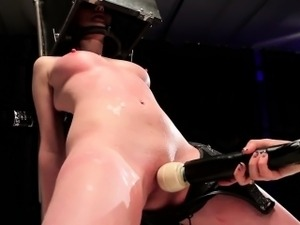 Immobilized leather panties sub toyed