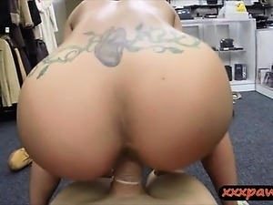 Mascular female gym instructor gets slammed in the pawnshop