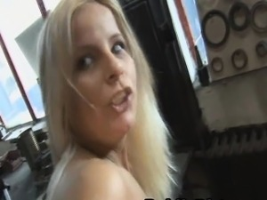 Pretty Blonde European Fucked In Public Repair Garage
