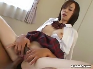 Japanese coed enjoys her first cock uncensored