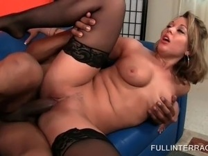 Stockinged beauty humping huge black cock