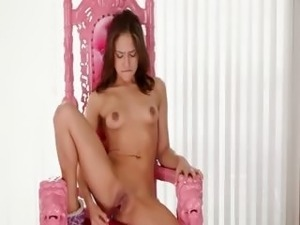 sexy vibrating pussy on the pink chair