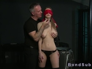 Bent over tied up babe gets fucked in dungeon