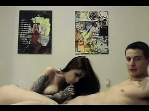 hot tattooed chick blowing dick