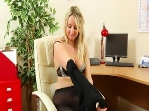 Secretary in black finger hard