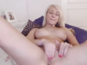 Cute Blonde Teen Fingers her Tight Pink Pussy