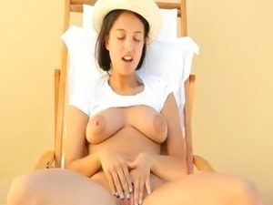 breasty babe torturing her nipples