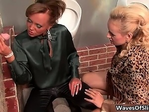 Sexy blonde and brunette whores go crazy part5