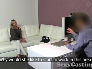 Casting Blonde babe gets spunk shower in casting