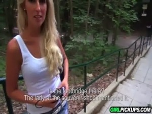 Pickup hot blonde on trail and fuck her outdoors free
